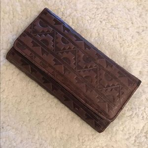 Vintage stamped leather southwestern wallet